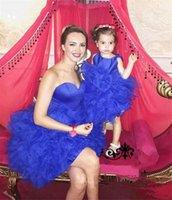 Бальное платье Симпатичные принцесса Девушки Pageant платья Маленькие девушки цветка Короткая мать и дочь платья Zipper назад рукавов младенца