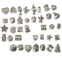 european beads mix set design diy metal big hole antique sil...