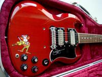 ¡Promoción! Hard Rock Black Sabbath Tony Iommi firmó Legendary Cherry SG Monkey Guitarra Eléctrica Black P 90 Pastillas, envolver alrededor del puente