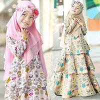 Arabisches Kleid Muslim lange Hülsen-Blume-Kleid + Kopftuch Zwei Mädchen Frühling und Herbst-Klagen