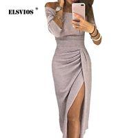 Elsvios Женщины Яркий Шелковый Блестящий Bodycon Платье Sexy Off Плечо Вечернее Платье Осень Три Четверти Рукава Элегантные Платья Midi J190601