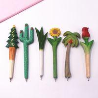 Bolígrafo al por mayor de la serie estacionaria Planta creativa pluma de la escritura de madera bolígrafos de madera regalo de la novedad Cactus zanahoria Escuela de girasol