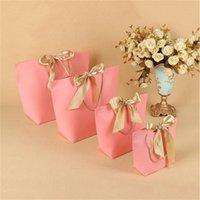 5 colores bolsa de regalo bolsa boutique ropa embalaje cartón paquete bolsas de compras para envolver presente con asa