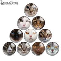 10 mm 12 mm 14 mm 16 mm 20 mm 25 mm 30 mm 569 Cara del gato de cristal redonda cabujón joyería que encuentra el ajuste 18mm Snap Button encanto de la pulsera Necklace5