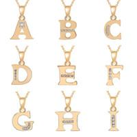 الذهب a-t جميع 26 رسائل الإنجليزية الأزياء محظوظ مشبك سلسلة قلادة الأبجدية الأولي تسجيل الأم صديق الأسرة اسم العائلة هدية قلادة المجوهرات
