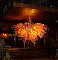 Orange et blanc borosilicate moderne lampes en cristal Grand Big Pendant European Light Chihully style en verre soufflé à la bouche Lustre