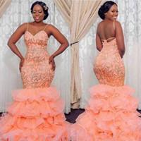 Плюс Размер Платья Выпускного Вечера Африканские Женщины Носят Спагетти Ремни Аппликации Многоуровневые Оборки Русалка Вечерние Платья 2K19 Sexy Back Вечернее Платье