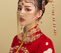 خمر اكسسوارات الزفاف للعروس الصينية الكلاسيكية الستار قناع الوجه اليدوية الخرز طويل الشرابة الزفاف مجوهرات الزفاف الوجه