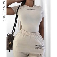 BOOFEENAA Blanc Knit Lettre Broderie à manches courtes Bodies femmes Vêtements printemps 2020 Suit Sexy Body Tops Ropa Mujer C71-I35