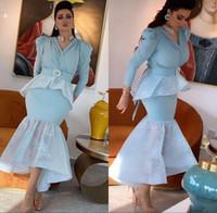 Arapça Açık Mavi Mermaid Abiye Çay Boyu V Boyun Pepumn Kristal Özel Yapılmış Uzun Kollu Balo Parti Kıyafeti Örgün Durum Giyim