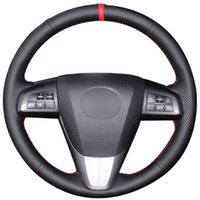 غطاء عجلة قيادة من الجلد الطبيعي باللون الأحمر الطبيعي من مازدا 3 Axela 2008-2013 مازدا CX-7 CX7 2010-2016 مازدا 5 2011-2013