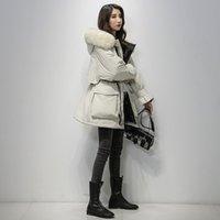 Moda-Fitaylor grande Chaqueta de piel natural con capucha mujeres del invierno 90% de pato blanca gruesa capa caliente Parkas Banda Implique la nieve