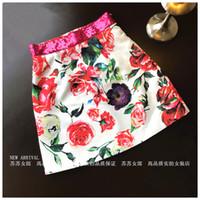 paillette 2020 nova moda das mulheres lantejoulas cintura alta remendado rosa flor jacquard uma linha de saia mais luxo tamanho curto projeto saia S M L