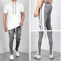 Pantalones rodillos de rayas laterales para hombres Hip Hop Skinny Men Knee Hole Jeans Streted Gray Jeans Diseñador Marca Moda Forma Slim Fit