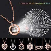 Runder Herz Memory Halskette 17styles Kette 100 Sprachen Ich liebe dich 520 Projektion Anhänger Romantischer Schmuck Valentinstag Geschenk AAA1654