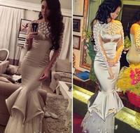 Sexy Silber-Kristall-Perlen Abendkleider 2016 Bateau Illusion lange Ärmel Mermaid Abendkleider Tulle Fußboden-Längen-formale Partei zu tragen