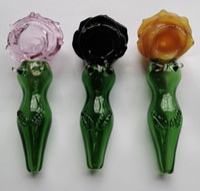Nouveau produit Sexy femme Pipe en verre à la main en verre coloré Tubes Hookah pour fumer Pipes Tabac Herb cuillère à sec pipe Dab Rigs verre barboteur
