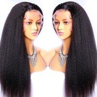 Peruca reta kinky 13x4 dianteira perucas de cabelo humano para as mulheres pré-replicadas com cabelo bebê brasileiro Remy Lace Cabelo Perucas Branqueadas nós