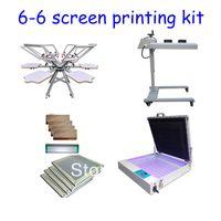 سريع شحن مجاني مايكرو تسجيل 6 لون 6 محطة شاشة آلة الطباعة كيت فلاش مجفف فراغ التعرض للأشعة فوق البنفسجية الممسحة