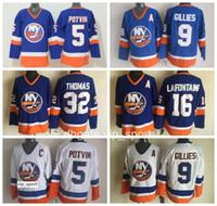 New York Challersers Man 5 Denis Potvin جيرسي 9 كلارك جيليس 32 ستيف توماس 16 بات لافونتين هوم رود أزرق أبيض