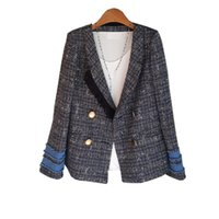 2020 Mode Automne Patchwork Plaid Vintage Blazer Veste col cranté Slim Tassel Tweed Costume vêtement