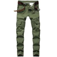 Erkek Jeans Skinny Tasarımcı Amry Yeşil Slim Fit Moto Biker Jeans Men Denim Pantolon Hip Hop Steetwear 1611 #