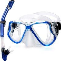 성인 스노클링 세트 50 미터 스쿠버 다이빙 마스크 전체 드라이 스노클 호흡 튜브 블루 핑크 블랙 색상 가능