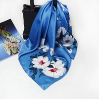 Women pure silk Scarf Luxury Square Scarf Hair Tie Band For ...
