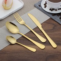 2 Colors high- grade gold cutlery flatware set spoon fork kni...