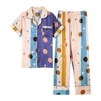 여성 잠옷 2 조각 여름 여성 실크 새틴 잠옷 세트 짧은 소매 슈트 여성 pijamas m l xl xxl xxxl