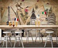 Personnalisé taille 3d photo papier peint salon chambre chambre murale rétro bâtiment européen style photo canapé canapé toile de fond papier peint non-tissé autocollant
