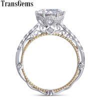 Transgems 14k bianco e giallo oro Centro 2ct 8 millimetri F anello di fidanzamento Moissanite colori dell'annata del diamante per le donne da sposa Y19032201