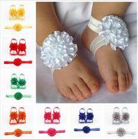 Filles Sandales Pieds nus Accessoires bébé bébé fille enfants fleur aux pieds nus Sandales Serre-tête Fleur Pied bande Carnation Hairband E361