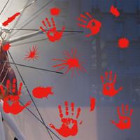 2 estilos horror del partido de Halloween del zombi se aferra ventana sangrienta del vampiro Huella Huella Calcomanías Bloodstains pegatinas Decoración JK1909XB
