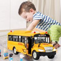 الجودة العالية الحجم أطفال مدرسة حافلة نموذج القصور الذاتي سيارة مع الصوت الخفيفة للأطفال سباق السيارات الكهربائية اللعب