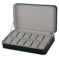 Protable 12 Slots Watch Box Gray Storage Case With Zipper Mu...