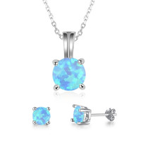 Cute Round Blue Fire Opal Pendant Necklace and Earrings 925 ...