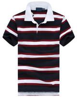 Летняя мода Мужчины Полосатый футболки Малый Конные вышивки Slim Fit американский дизайн Повседневный Спорт рубашки поло Man вскользь Tops тенниски