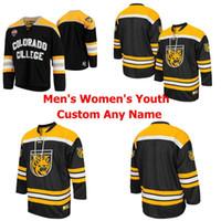 NCAA Пользовательские Колледж Колорадо Тигры колледжа льда хоккея МУЖСКИЕ ЖЕНСКИЕ молодежи KIDS Черный Желтый прошитой Любое Имя Любое число