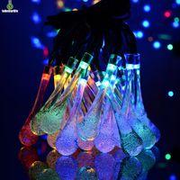 String Slous Lights 30 LED Solar Powered Crystal Ball Ball Waterdrop Impermeabile 8 Modalità di illuminazione Lavoro solare Giardino Luci da giardino per vacanze Natale