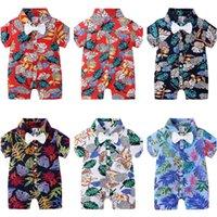 2020 키즈 디자이너 의류 소년 rompers 나비 넥타이 꽃 인쇄 어린이 유아 점프 슈트 아기 여름 잠옷 의류 하와이 스타일 CZ526