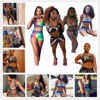 Wholesale traje de baño Dos piezas de mujer traje de baño lujo bikini traje deportes sujetador y damas boxeador natación troncos pantalones cortos de playa d52103