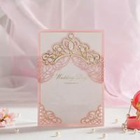 Tarjeta de muestra Royal Royal Roy Royal Pink Cut Boda Tarjeta de invitaciones de boda con diseño de la flora hueca en relieve dorada para la ducha nupcial