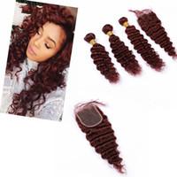 """Paquetes de pelo peruano rojo con cierre ondulado profundo 4"""" * 4"""" 3 púrpura mechones de cabello humano # 99J color"""