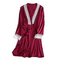 exy 란제리 여성 실크 레이스 가운 긴 소매 얼룩 목욕 가운 잠옷 들러리 가운에 femmeoir 여성 E1
