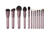 Conjunto de pinceles de maquillaje de alta calidad 12 unids Conjunto de pinceles de sombra de ojos de herramientas de belleza en polvo