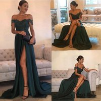 2020 Cheap Evening Dresses A Line Off Shoulder High Side Spl...