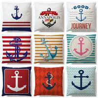 Amortiguador colorido Impreso de algodón de lino de la cubierta ancla patrón de la nave marina Throw Pillow caso decorativo almohada Cojines Almofadas
