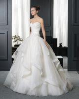 2020 Nuevo Sexy Sheetheart Sweetheart Bordado Princess Organza Bola Vestidos de novia Vestidos de Novia 2018