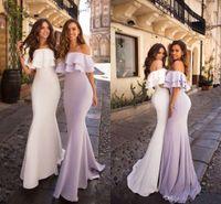 Barato Lilac fora do ombro sereia vestidos de dama de honra vestidos longo bainha casamento vestido de convidado além do tamanho vestido de festa de noite de tamanho dama de honra